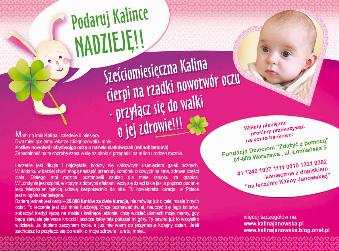 PMR's support for a one-year-old Kalinka suffering from cancer